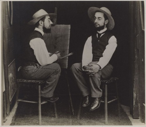 Taking it old school - Henri de Toulouse-Lautrec as artist and model.   From retronaut.com