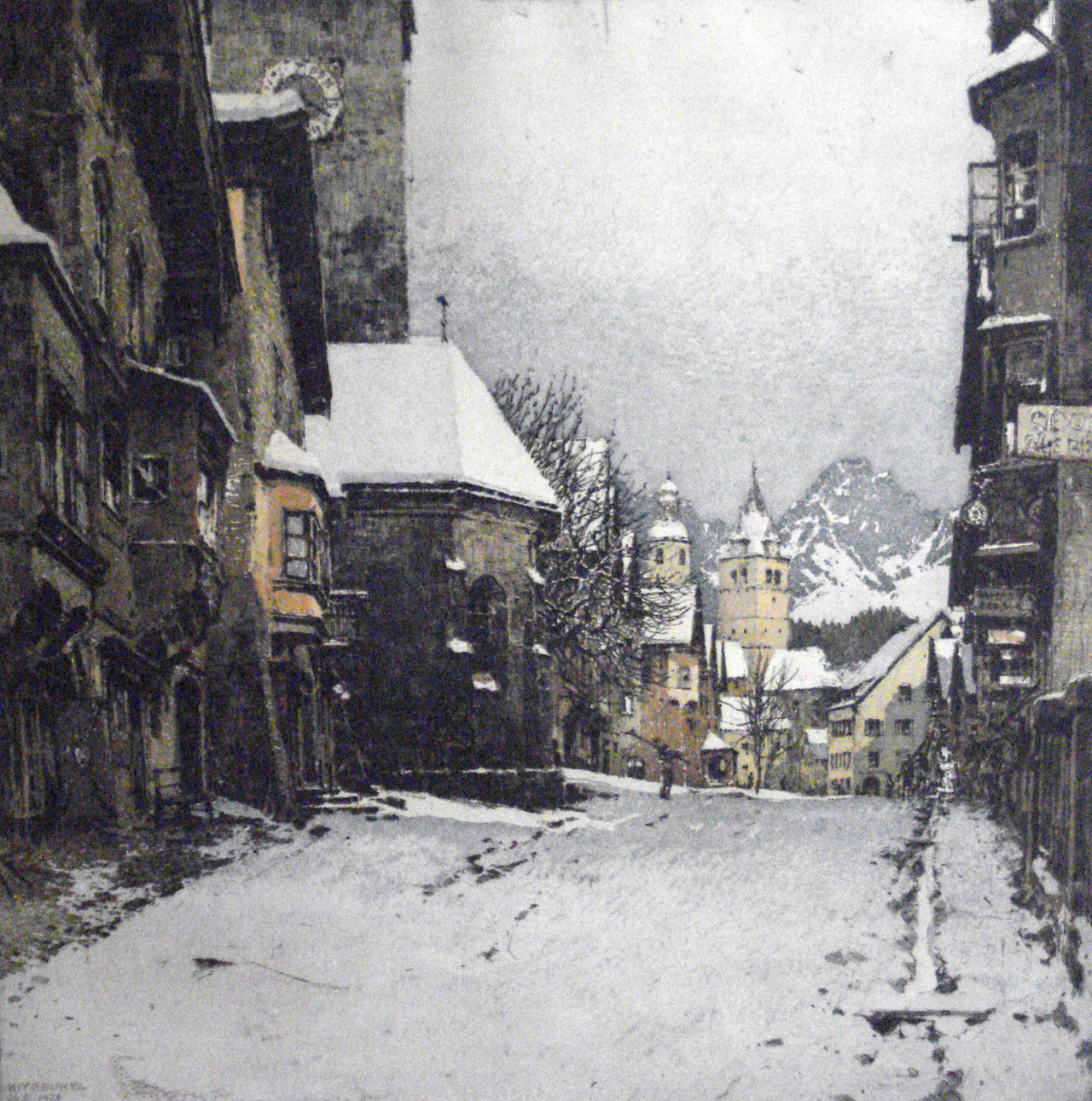 Skier on the street in Kitzbühel, Austria. Hand colored etching and aquatint by Luigi Kasimir, 1926.