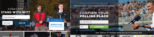 Can you tell which candidate's website is more ready for Election Day? One campaign has switched to sending voters to their polling stations in the homestretch — the other is still recruiting email addresses. [Pictures of campaign homepages from Monday, via Ari Melber]