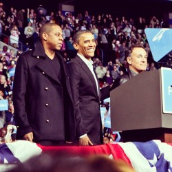 Obama, Jay-Z and Bruce Springsteen after the Obama rally in Columbus. Bruce made up a song with FORWARD as a chorus, and Jay-Z changed his lyrics to 'I got 99 problems but a Mitt aint one. ' #ohio #ohiostories #gotv #gobama  (at Columbus, Ohio)