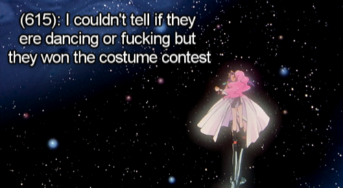 utena-tfln:  [Image - Utena and Anthy dancing.] [Text - (615): I couldn't tell if they ere dancing or fucking but they won the costume contest]