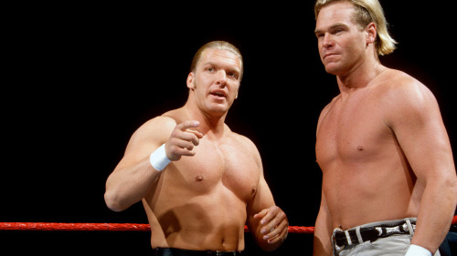 "Hunter Hearst-Helmsley and Billy Gunn - WWF Monday Night RAW [12/2/1996] In the main event of this RAW, the tag team of Helmsley and Gunn took on the duo of Jake ""The Snake"" Roberts and ""Wildman"" Marc Mero. Even though these two would later be major factors in D-Generation X, this match was nothing more than a random pairing as Helmsley was feuding with Marc Maro for stealing his valet Sable. Gunn had taken on Maro the week before on RAW, so this was just part of the continuation of that storyline, nothing more."