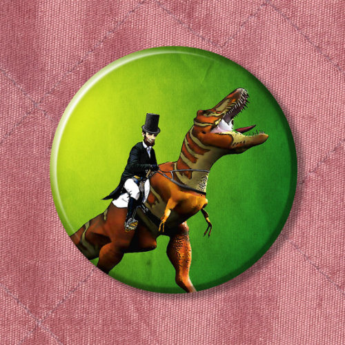 Abe Lincoln riding a T-Rex.