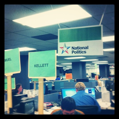 The signage was hung over the cubicles with care. Election eve!  Ready to do this.  (at Washington Post)