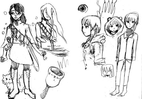 Serial Experiments Lain and Sabriel sketches.
