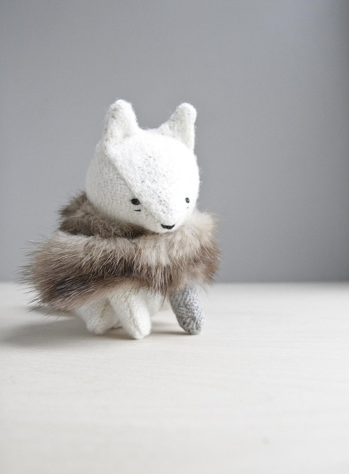 winter fox all dressed up for the coming cold. hand stitched from vintage wool with hand embroidered details and a rescued scrap of fur - october 2012 -