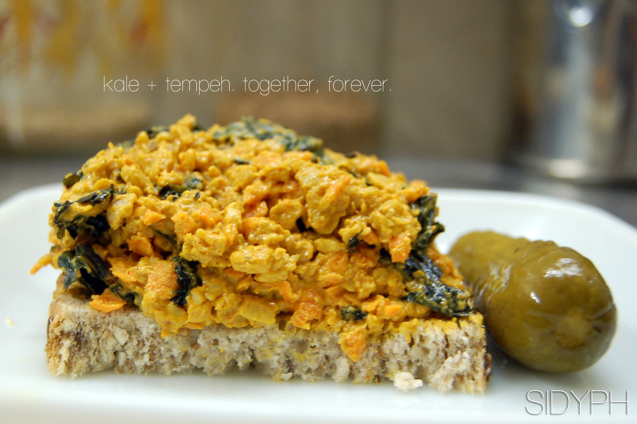 Kale + Tempeh. Together, forever.  I used to make tempeh salad sammies all the time. And they were good. REAL good. But I'm never one to keep a recipe as is. In fact, it's rare that I make the same recipe twice. After all, I have a cupboard full of spices, and a bunch of really cool pals that like to taste-test my experiments.  I just got back from the local market (Yes, it's November), and found the must delicious looking purple kale. Organic, local, and I'm pretty sure the farmers are masked super heros at night. That kind of good.  As for me, I liked the colour, and knew exactly what to do with it.  I'd like to introduce the new-and-improved, Tempeh Salad Sammies.  This time, i've simplified the ingredients, added Kale, and re-written the instructions so anyone can make this in under 30 minutes. And it's still vegan. But wait, there's more.  Some friends of mine were inquiring about what I eat for lunch everyday.  And while leftovers are almost always my answer, I do like to mention this recipe.  Easy to make, keeps fresh, is perfect on sandwiches, and Holy-Obamacare are they delicious. But don't take my word for it, try them for yourself.  Make this because: You need this recipe to make better sandwiches. And hey, we all know they're your favourite.  Ingredients: 1 t, each - Paprika & Turmeric 1 t, each - S&P 1 package, Tempeh 1 large carrot, grated (or cut into very small pieces) 1/4 bunch, Kale 1/2 T, Lemon juice 2 T, Mayonaise (or vegan substitute) 2 slices, delicious bread lettuce a pickle, for the side Directions: This. Is. So Easy. Cut and Steam your kale. The smaller the pieces, the better.  While steaming, cut your Tempeh into small strips. Drop in the steamer when the Kale is done. You can put the kale aside for now.  Wash & grate your carrots.  Now, add your spices to a bowl and mix well.  Once your Tempeh is done, remove and let sit in a bowl in the fridge for 5 mins, just to cool down.  Now, mash your tempeh with a fork. Mash it good. Then add it to your spices along with the carrot and kale.  Stir in lemon juice and mayo (or Veganaise) and mix like crazy. Or not. Your call.  Once done, chill in the fridge and prep your bread.  Lettuce, Onion, Pickle, Sprouts. Whatever your heart desires.  Now, scoop on your delicious tempeh mix and dig in.  And this, my dear friends, is one of the best sandwiches you will ever eat. Don't forget to share with your pals. They deserve it.