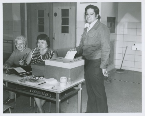 queenslibrary:  Happy Election Day! (Photo from the Archives at Queens Library)  Remember to vote today! Don't know where your polling place is? Find out. Feel like your vote is being suppressed? Report it to Mother Jones or call the FBI's hotline at 1-800-253-3931. Just a reminder to New Yorkers: because of the hurricane, you can vote at any polling place in New York state. If you are a resident of New York City or Westchester, Long Island or Rockland County, you can vote anywhere in the state of New York.