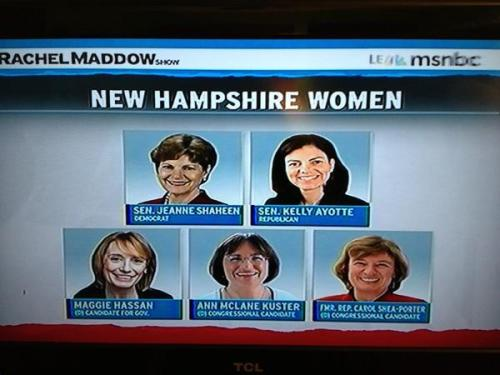 seriouslyamerica:  New Hampshire could have women in all major leadership positions - pretty cool! And here's hoping Carol Shea-Porter beats Rep. Frank Guinta, because he is a misogynistic douchecanoe.  Although, since Kelly Ayotte is anti Planned Parenthood and totally Anti Choice (unlike the other women in that group) no one should consider her a GOOD woman to have in power. She supports closing down Planned Parenthood because she disagrees with a legal medical procedure that makes up 3% of their work >.<