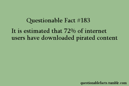 questionablefacts:   {image text} Questionable Fact #183  It is estimated that 72% of internet users have downloaded pirated content questionablefacts.tumblr.com   Percentages