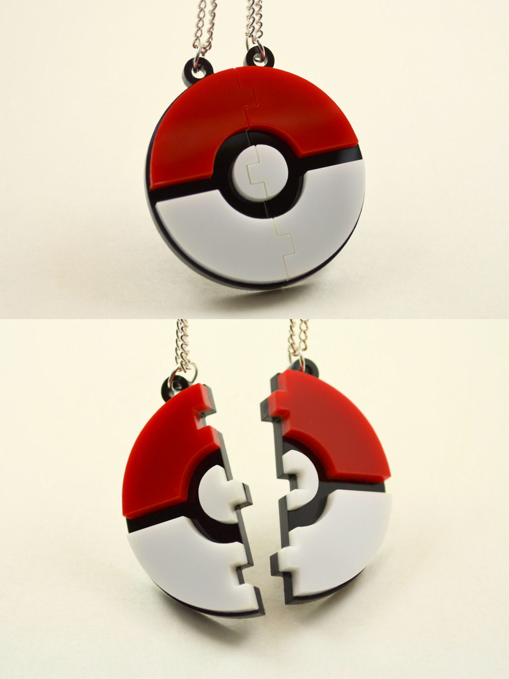 licketycut:  Pokeball Friendship Necklaces - Laser Cut Acrylic   I waaaaannnnttttttt gsgsshzhshshhahs