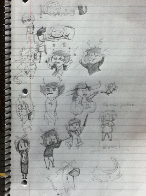 When Jupe is bored in a 2-hour class… Featuring homestuck, an axolotl, Baekhyun from Exo-k, and a random little person in the corner that started it all.