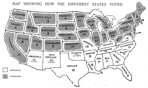 nytgraphics:  Theodore Roosevelt (R) defeats Alton B. Parker (D). Page 1 of The New York Times on Wednesday, November 9, 1904.