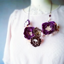 Wintry blossoms #lolitasummer #jewelry #accessories #necklace #flower #rose #purple