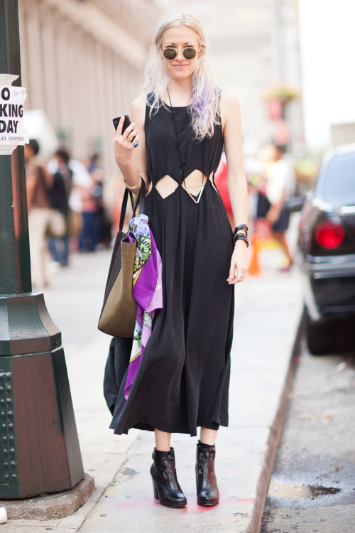 Maia Wojcik @iammaia  Fashion Design Scout / DJ After Edun Dress: Samantha Pleat Bag: Celine Scarf: Givenchy Necklace: Coley & McCallister Jewelry: AEA  Sunglasses: Barton Perriera Boots: Robert Clergerie Really love this style! Unique black dress, Celine bag, flowing scarf accessorie, fun sunglasses and hair, wearable boots. Awesome! I have a ton of photographs from NYFW SS13 but it's weird to post them as it gets colder in New York … we'll see!  XX