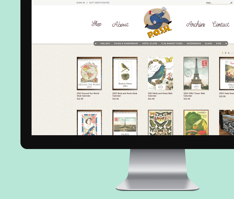 Just Launched: POSH Chicago This week we launched our ecommerce design for P.O.S.H., an amazing shop in Chicago! They sell antique and vintage silver, dinnerware, glassware, flea market finds and unique gift items. Amazing one-of-a-kind stuff and awesome gifties! We designed this in partner with This Paper Ship on the illustrations. Check it out. poshchicago.com