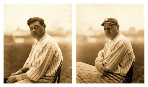 Babe Ruth Gives Two Poses No Cap, With A Cap - 1920's