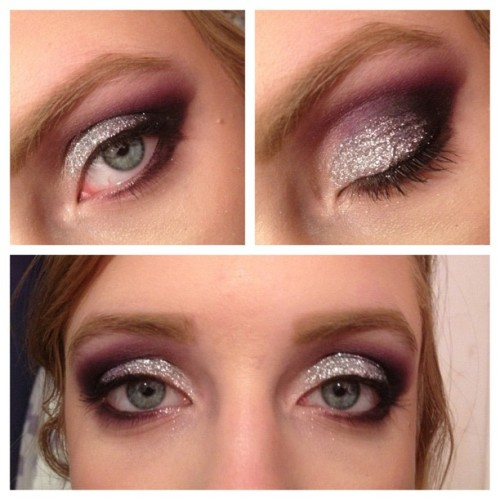 Did @emmy8794's makeup #makeup #glitter #purple #mua #draginspired #makeupartist #smokeyeye