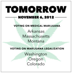 Six States To Decide Tomorrow On Marijuana Measures | NORML Blog  Millions of voters will decide on Election Day in favor of ballot measures to legalize and regulate the use of cannabis by adults. Voters in three states — Colorado, Oregon, and Washington — will decide on statewide ballot measures to legalize the possession and distribution of cannabis for those over 21 years of age. Voters in three additional states — Arkansas, Massachusetts, and Montana — will decide on measures to allow for the therapeutic use of cannabis by patients with qualifying ailments. In Michigan, voters in four cities – totaling over a million people – will decide on municipal measures to legalize or depenalize the adult use of cannabis. Ballot measures in Colorado, Massachusetts, and Washington remain favored among voters, according to the latest statewide polls. Since 1996, 17 states have enacted legislation to allow for the limited possession of cannabis when a physician authorizes such use. In ten of those states, voters enacted medical cannabis legislation via the statewide initiative process. But to date, no statewide proposal to remove criminal and civil penalties for the broader, personal possession and use of marijuana by adults has succeeded at the ballot box. This reality is likely to change tomorrow. A summary of this year's more prominent statewide and local ballot measures appears below. ARKANSAS: Voters will decide on Measure 5, The Arkansas Medical Marijuana Act of 2012, which allows authorized patients to possess up to two and one-half ounces of cannabis for various qualifying medical conditions, including cancer, Crohn's disease, fibromyalgia, and post-traumatic stress disorder (PTSD). The measure also allows state regulators to establish not-for-profit facilities to produce and dispense cannabis to approved patients. Individual patients will also be permitted to privately cultivate limited amounts of cannabis (up to six flowering plants) if they reside further than five miles from a state-authorized dispensary. COLORADO: Voters will decide on Amendment 64, which allows for the legal possession of up to one ounce of marijuana and/or the cultivation of up to six cannabis plants by those persons age 21 and over. Longer-term, the measure seeks to establish regulations governing the commercial production and distribution of marijuana by licensed retailers. Voters in the state approve of the measure by a margin of 50 percent to 44 percent, according to the latest Denver Post survey. MASSACHUSETTS: Voters will decide on Question 3, which eliminates statewide criminal and civil penalties related to the possession and use of up to a 60-day supply of cannabis by qualified patients. It would also require the state to create and regulate up to 35 facilities to produce and dispense cannabis to approved patients. Individual patients will also be permitted to privately cultivate limited amounts of cannabis if they are unable to access a state-authorized dispensary. Voters in the state approve the measure by a margin of 55 percent to 36 percent, according to the latest Suffolk University poll. MICHIGAN: Voters in four cities – totaling over a million people – will also decide on Tuesday whether to legalize or depenalize the adult use of cannabis. Voters in Detroit will decide on Proposal M, which removes criminal penalties pertaining to the possession on private property of up to one ounce of marijuana by adults over age 21. In Flint, voters will decide on a citizens' initiative to amend the city code so that the possession on private property of up to one ounce of marijuana or cannabis paraphernalia by those age 19 or older is no longer a criminal offense. Grand Rapids voters will act on Proposal 2, which seeks to allow local law enforcement the discretion to ticket first-time marijuana offenders with a civil citation, punishable by a $25 fine and no criminal record. In Ypsilanti, voters will decide on a proposal to make the local enforcement of marijuana possession offenses the city's lowest law enforcement priority. MONTANA: Voters will decide on Initiative Referendum 124. A 'no' vote on IR-124 would repeal newly enacted restrictions to the state's 2004 voter-approved medical marijuana law. OREGON: Voters will decide on Measure 80, the Oregon Cannabis Tax Act, which provides for the state-licensed production and retail sale of cannabis to adults. The measure does not impose state-licensing or taxation requirements upon those who wish to cultivate cannabis for non-commercial purposes. WASHINGTON: Voters will decide on I-502, which regulates the production and sale of limited amounts of marijuana for adults. The measure also removes criminal penalties specific to the adult possession of up to one ounce of cannabis for personal use. Voters in the state back the measure by a margin of 56 percent to 37 percent, according to the latest KING 5 poll.  facebook links: Legalize It 2012 The Colorado Marijuana Initiative 2012 (Colorado)YES on WA's Marijuana Initiative 502 (Washington)Cannabis Tax Act (Oregon)VOTE YES on Question 3 (Massachusetts)Arkansans for Compassionate Care (Arkansas)Marijuana Policy ProjectStudents for Sensible Drug PolicyNORMLMarijuana MajorityFuck Yeah Drug Policy