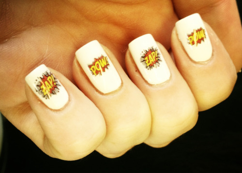 theholygrailofnail:  Comic book nails! First proper design I've done in ages!!