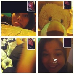 Face time with these cutiees @dta_arlynn my new best friend Aly💕 @sickassxochitl69 and he booty 💋