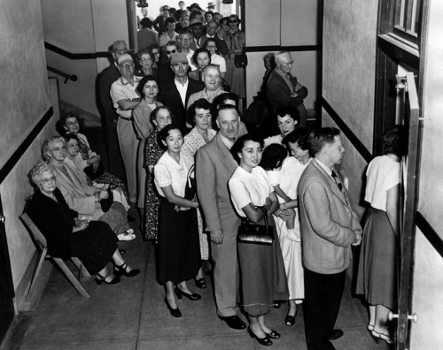 losangelespast:  Angelenos queue to cast their votes at the 39th Street School polling station, Election Day 1952.  GOTV!