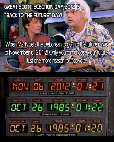 Great Scott! Choose your own future. #govote! Click here to find your polling station and share these images with your friends to make sure they #GoVote as well. For more #govote images and to submit your own go to: govote.org