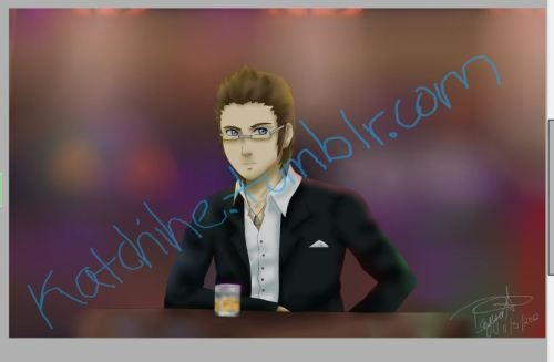 Product of todays' livestream :D  Ignis fanart <333 'cause he needs more love, and well, yeah xD  Had this thing where I wanted to draw him in a bar, in Las Vegas, with Whiskey….because y'know those random ideas that pop into your head? Yep those are 99% of my art xD lol.  So here he is, talking to a random girl, she seems interested, he doesn't according to my friend xD pfft.  Art is done by moi, no touchy ._.   such talent!!!! *^* he looks jflsdjkfljauioreutanvfnxm, <33333333 we all know he prefers a certain girl with glasses -w- hehehe