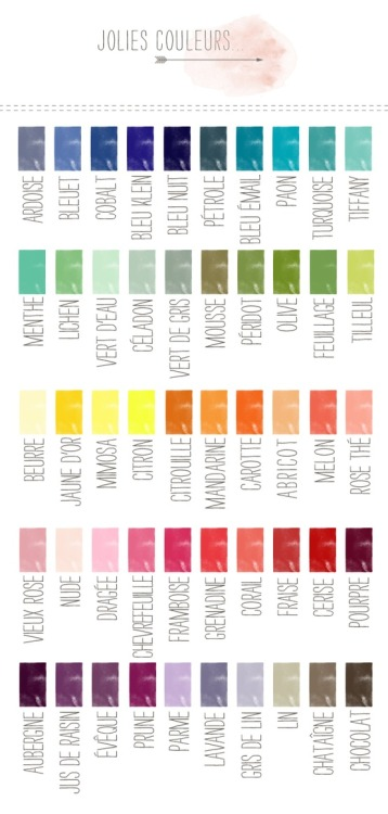 jesuisamericaine:  love-your-french:  Detailed French Color Names  8D