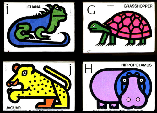 A very strange grasshopper… Matchbox animal alphabet by Cruz Novillo.Found here (via Present & Correct). Also see this.