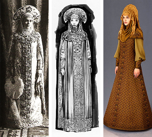 sw-costumes:  Padmé Amidala | Refugee Disguise | Attack of the Clones  Historic inspiration During the design process for the prequel trilogy, both the concept artists and the costume department drew heavily on historic influences. This particular gown was inspired by Russian ball gowns from around the turn of the century. The image to the far left shows Grand Duchess Xenia Alexandrovna wearing one such dress at a ball in 1903.