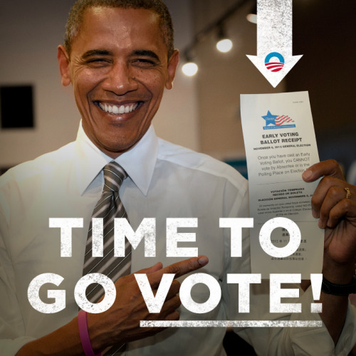 It's time to go vote! Confirm your polling place here: http://OFA.BO/sh52NU Confirm Your Voting Location | Commit to vote  Make a Plan To Vote | Volunteer