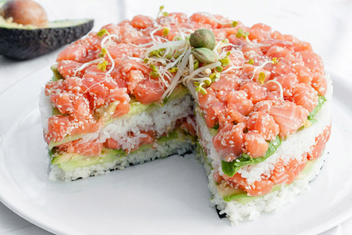 ohmyasian:  (via eatcleanmakechanges)2785. Sushi cake. OMG, like equivalent to a few hundreds sushis…
