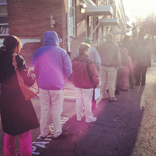 Still a line at the polling place 2 hours in. http://instagr.am/p/RsHHE4rd7y/