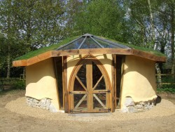 A cob and strawbale roundhouse/ garden studio in Norfolk designed and built by Kate Edwards