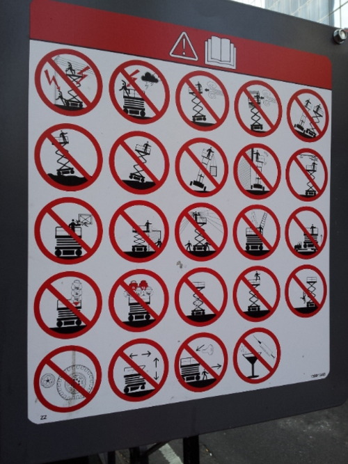 "inothernews:  Easily the most ""DON'T DO THIS"" pictographs I've ever seen on one sign."