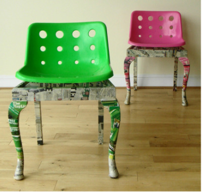 The chairs are the culmination of a project which set out to investigate the concept of sustainability and are constructed from four chairs that were previously in a state which rendered them unusable. The shells are polypropylene and the bases are made from beech. They are finished in colour co-ordinated decoupage made from newspaper and magazine cuttings.  (via Re:Polo - Peter Ward Design)