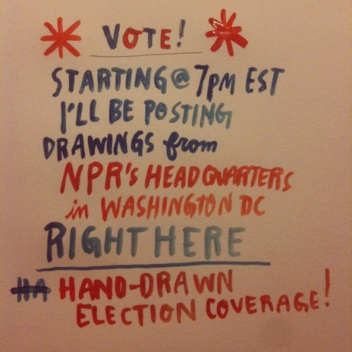 Hey y'all, my friend Wendy MacNaughton is live drawing the election tonight.  Go follow her→