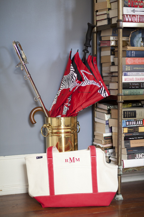 matchbookmag:  Scalamandre umbrella and a Lands' End Dog tote… (photo by Jade McCully for Matchbook)