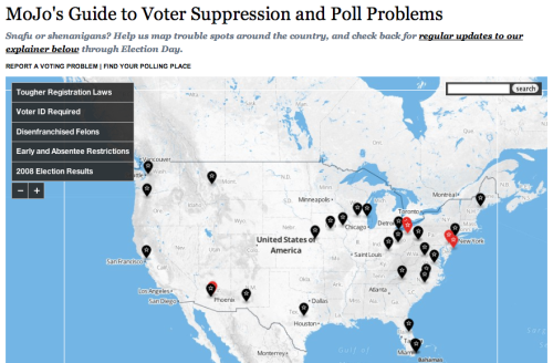 The Mother Jones Guide to Voter Suppression and Polling Problems Authored by you: Find your precinct. Report any issues. See where we're tracking problems throughout the day. Because it's your right, people.