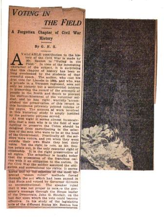 Newspaper clipping with review of the book (and image on verso). From the back matter of Voting in the Field: A Forgotten Chapter of the Civil War by Josiah Henry Benton (1915). Original from the New York Public Library. Digitized September 19, 2006.