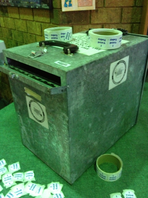 Now that's a ballot box. This thing looks like it would survive a nuclear war. Or already did.