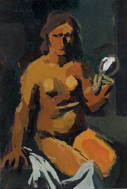 art-mirrors-art:  Ken Kewley - Nude with Mirror (after Mario Sironi's same-named work) (2008)