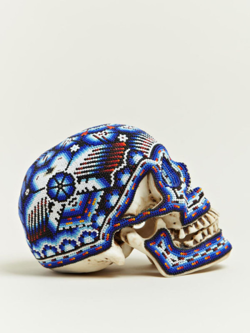 growhousegrow:  Pattern!  Color!  Via thekhooll:  Beaded Skull Beaded skulls created by Our Exquisite Corpse in collaboration with the Huichol people of Mexico.