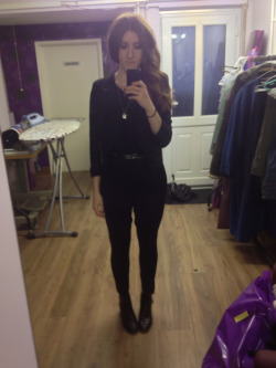 What I wore today  Topshop sequinned batwing jumpsuit, Topshop shirt blazer, 3 belts plaited together and vintage black leather boots