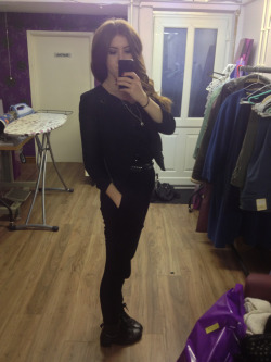 What I wore today Topshop jumpsuit, Topshop blazer vintage black boots