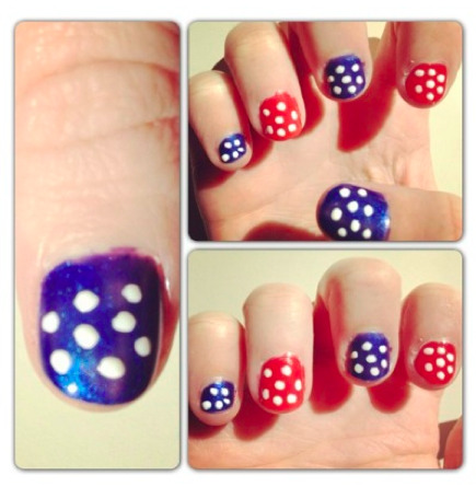 Bitin' your nails waiting to cheer for the next prez? Keep those fingers busy with pretty patriotic polka dots…