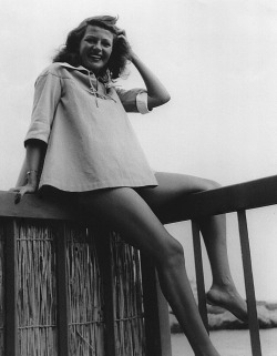 Rita Hayworth on vacation, c. 1949.