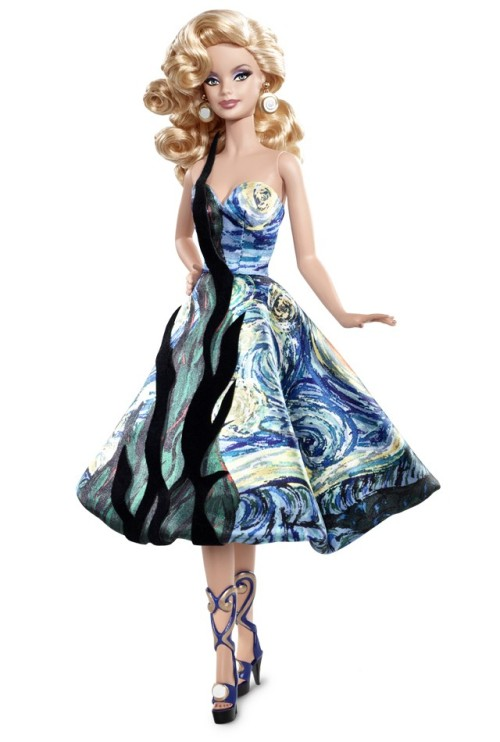 "Barbie® Doll Inspired byVincent van Gogh An amazing fusion of fashion and fine art, the Museum Collection dolls are a feast for the eyes! Vincent van Gogh Barbie doll captures the mood of the magnificent masterpiece, ""The Starry Night."" She wears a strapless cocktail dress with a Cypress tree accent in black flock fabric, and the swirling patterns of the painting are echoed in her circular earrings, molded metallic sandals, and wavy hair. Both in and out of her packaging, she's the picture of perfection!"
