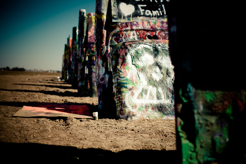 Making my mark on the Cadillac Ranch outside of Amarillo, TX. We stopped here on our way out to California, paying homage to my birthplace and the wide open spaces I grew up in. Going back 'home' is always a little strange. More to come later, as I recount our travels out west and the adventures therein.